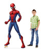 Life-size cardboard standee of Spider-Man from Marvel with model.