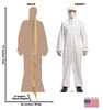 Life-size cardboard standee of a Doctor in Protective Gear with front and back dimensions.
