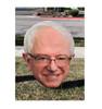 Outdoor coroplast big head of Bernie Sanders outdoors.