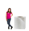 Life-size cardboard standee of Toilet Paper Roll with model.