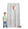 Life-size cardboard standin of HoarderToilet Paper Roll with models.