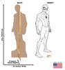 Life-size cardboard standee of Color Me Spider-Man from Marvel with front and back dimensions.