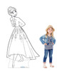 Life-size Color Me Anna Standee with model.