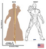 Life-size Color Me Iron Man Standee with front and back dimensions.