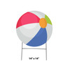 Coroplast outdoor yard sign icon of a beach ball with dimensions.