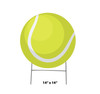 Coroplast outdoor yard sign icon of a tennis ball with dimensions.
