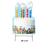 Coroplast outdoor yard sign icon of a birthday cake with dimensions.