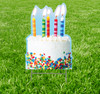 Coroplast outdoor yard sign icon of a birthday cake.
