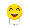 Coroplast outdoor yard sign icon of an emoji smile face with dimensions.