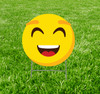 Coroplast outdoor yard sign icon of an emoji smile face.