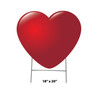 Coroplast outdoor yard sign icon of a red heart with dimensions.