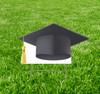 Coroplast outdoor yard sign icon of a black grad cap.
