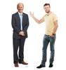 Life-size standee of President Joe Biden with model.