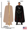 Life-size cardboard standee of Moff Gideon with back and front dimensions.