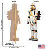 Life-size cardboard standee of a Mortar Stormtrooper with back and front dimensions.