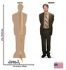 Life-size cardboard standee of Dwight Schrute from the Office TV show with front and back dimension.