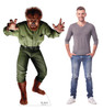 Life-size cardboard standee of Wolf Man from Universals Monsters Collection with model.