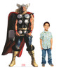 Life-size cardboard standee of Thor from Marvels Timeless Collection with model.