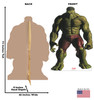 Life-size cardboard standee of Hulk from Marvels Timeless Collection with back and front dimensions.