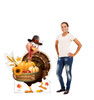 Life-size cardboard standee of a Festive Turkey with model.