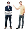 Life-size cardboard standee of Social Distance Mask Standee Male with model.