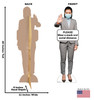 Life-size cardboard standee of Social Distance Mask Standee Female with back and front dimensions.
