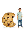 Life-size cardboard standee of a Chocolate Chip Cookie with model.