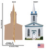 Life-size cardboard standee of Church with Steeple with back and front dimensions.