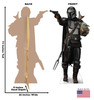Life-size cardboard standee of The Mandalorian with Child with back and front dimensions.