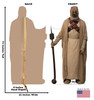 Life-size cardboard standee of a Tusken Raider from the Mandalorian season 2 with back and front dimensions.