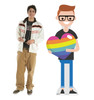 Life-size cardboard Male Cartoon Pride Standee with model.