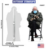 Life-size coroplast outdoor standee of Bernie Sanders meme from 2020 election with back and front dimensions.