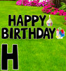 Coroplast yard sign, black Happy Birthday letters with background.