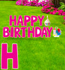 Coroplast pink Paper Happy Birthday yard signs with background.