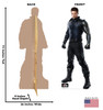 Life-size cardboard standee of Winter Soldier with front and back dimensions.