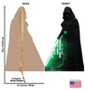Life-size cardboard standee of Luke Skywalker from the Mandalorian season 2 with back and front dimensions.