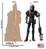 Life-size cardboard standee of Crosshair from The Bad Batch on Disney+ with front and back dimensions.