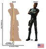 Life-size cardboard standee of Saw Gerrera from The Bad Batch on Disney+ with front and back dimensions.