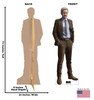 Life-size cardboard standee of Mobius from Marvel/Disney+ series Loki with back and front dimensions.