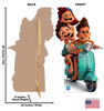Life-size cardboard standee of Luca, Alberto and Giulia with front and back dimensions.