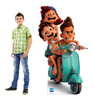 Life-size cardboard standee of Luca, Alberto and Giulia with model.