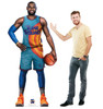 Life-size cardboard standee of Lebron from Space Jam A New Legacy with model.