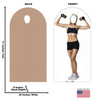 Life-size cardboard stand-in of a muscle women with front and back dimensions.