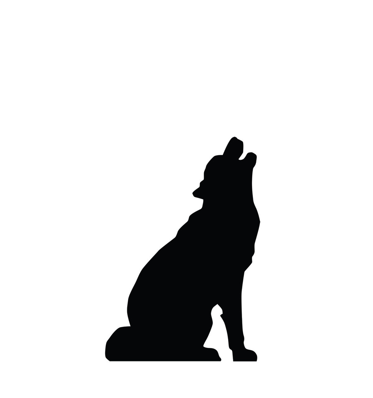 Life-size Howling Wolf Silhouette Cardboard Standup