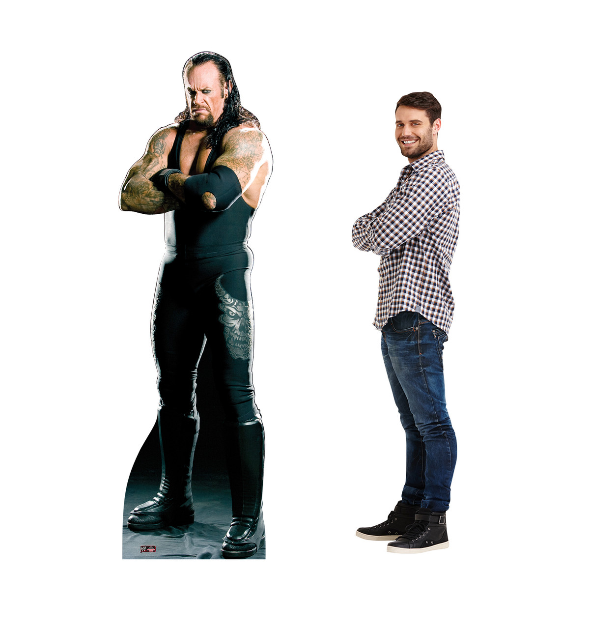 Life-size Undertaker Cardboard Standup with back and front view with dimensions.