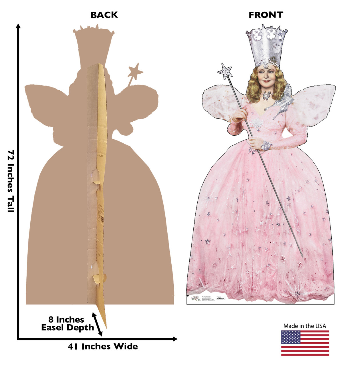 Life size Cardboard Cutout Standee of Glinda the Good With from the Wizard of Oz with dimensions