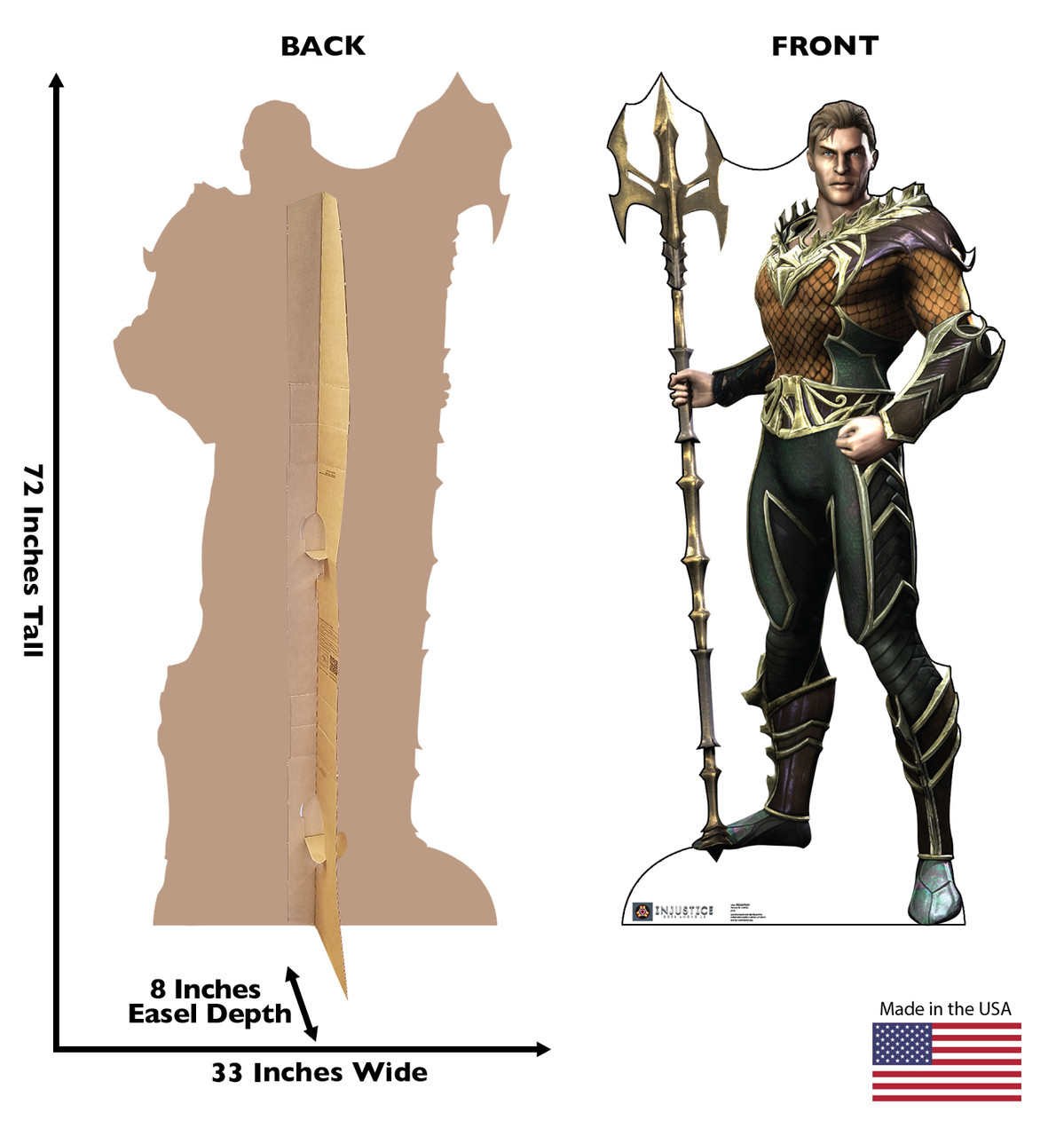 Aquaman - Injustice Gods Among Us - Cardboard Cutout Front and Back View