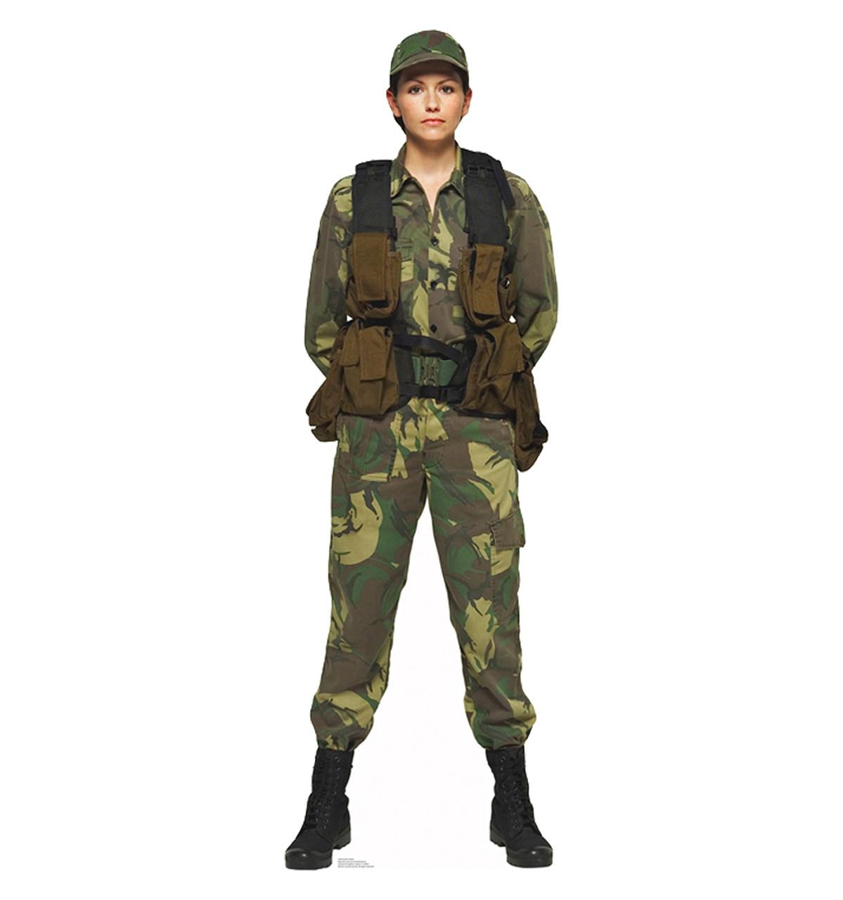 Life Size Female Soldier Cardboard Standup Cardboard Cutout
