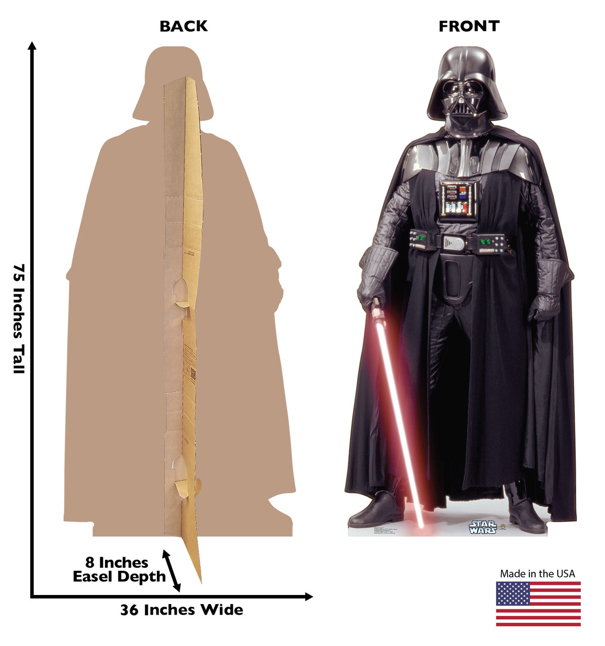 Darth Vader Cardboard Cutout front and back view