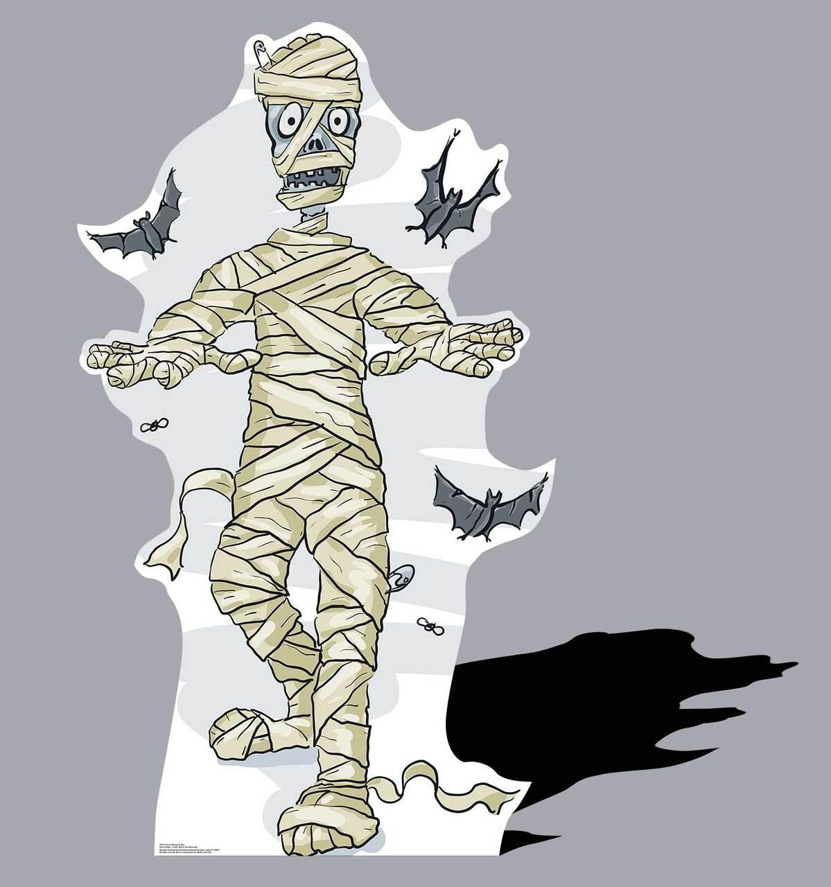 Life-size Cartoon Mummy & Bats Cardboard Standup  Cardboard Cutout